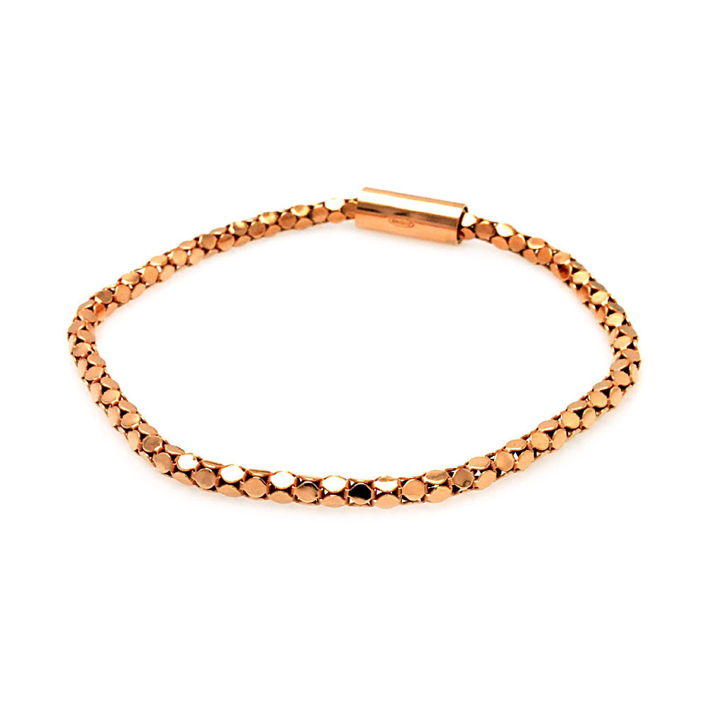 .925 Sterling Silver Rose Gold Plated Skinny Multi Circle Italian Bracelet