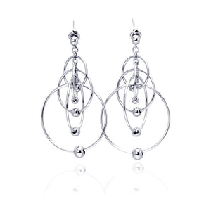 .925 Sterling Silver Rhodium Plated Multiple Graduated Open Circles Hanging Ball