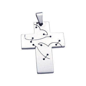 Stainless Steel Cross Cutout Heart Charm Pendant