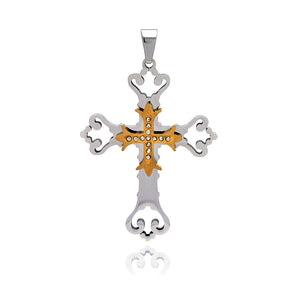 Stainless Steel Gold Plated Center Clear Cubic Zirconia Cross Charm Pendant