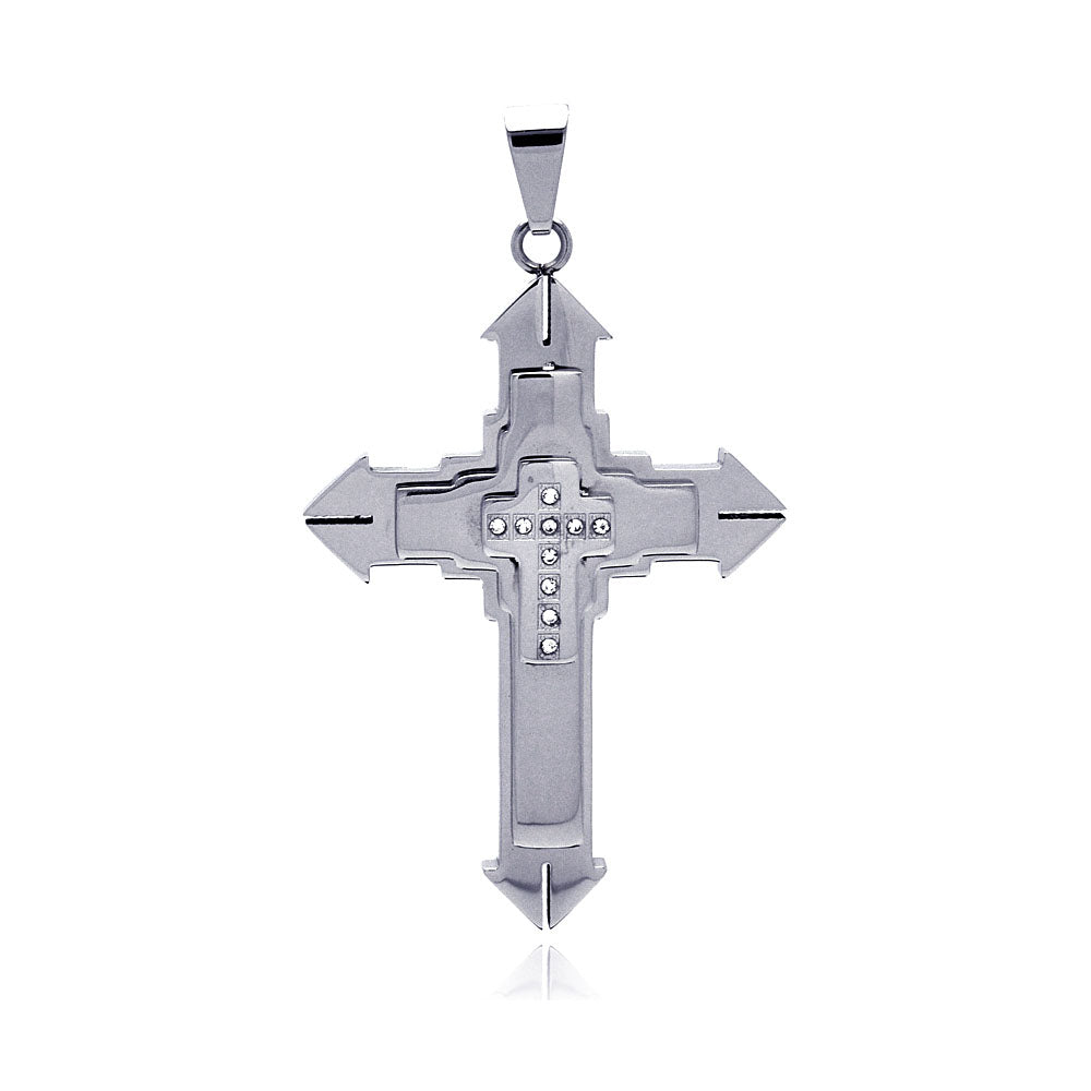 Stainless Steel Multi Layer Cross Charm Pendant