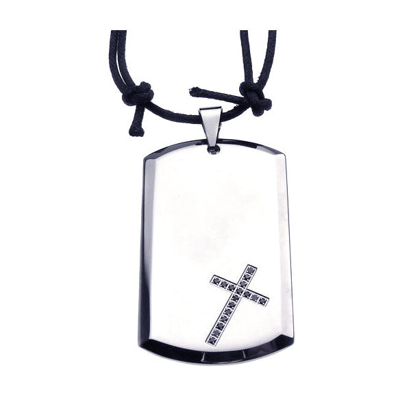 Stainless Steel Cross Clear Cubic Zirconia Dog Tag Black Cord Pendant Necklace