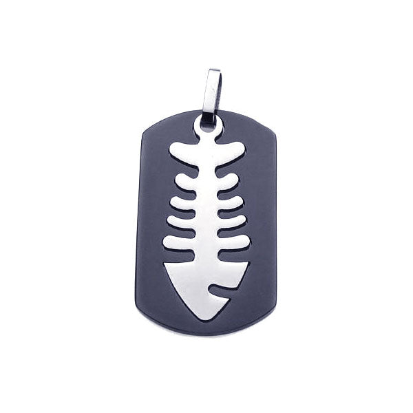 Stainless Steel Black Rhodium Plated Fish Bone Dog Tag Charm Pendant