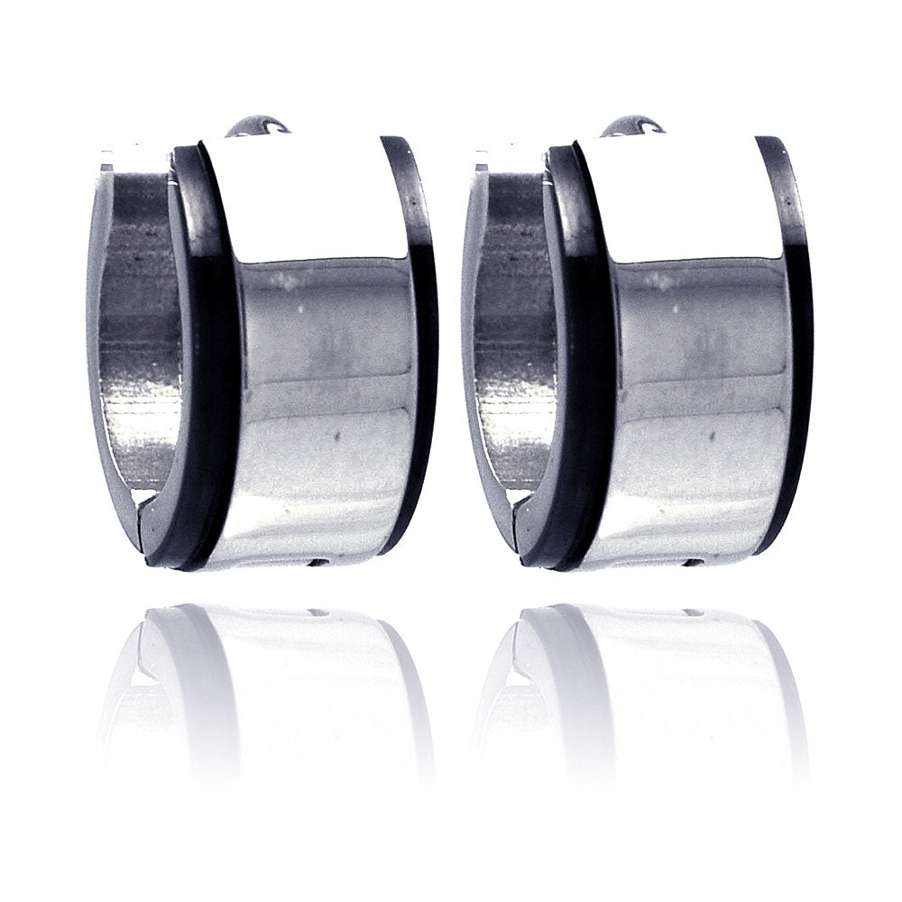 Stainless Steel Black Rhodium Plated Border Huggie Earring