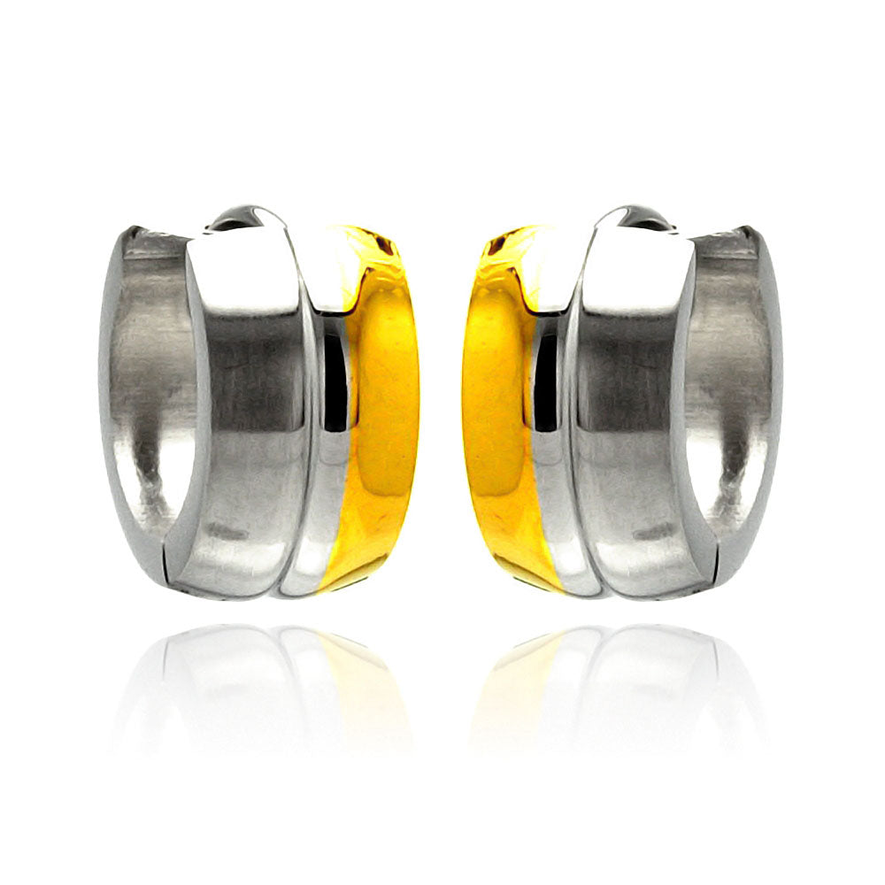 Stainless Steel Two Tone Huggie Earring