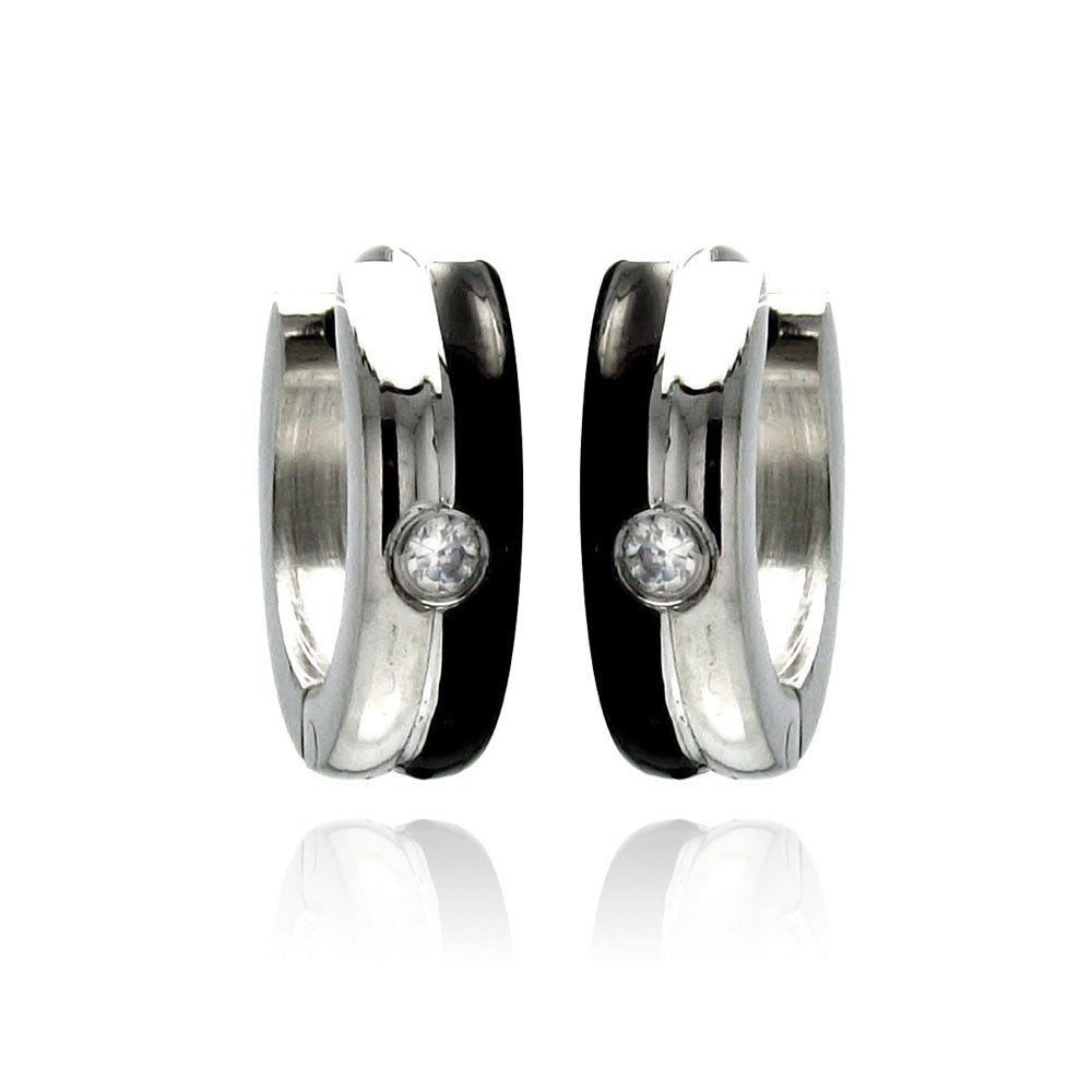 Stainless Steel Black Enamel Single Clear Cubic Zirconia Hoop Earring