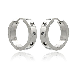 Stainless Steel 3 Clear Cubic Zirconia Hoop Earring