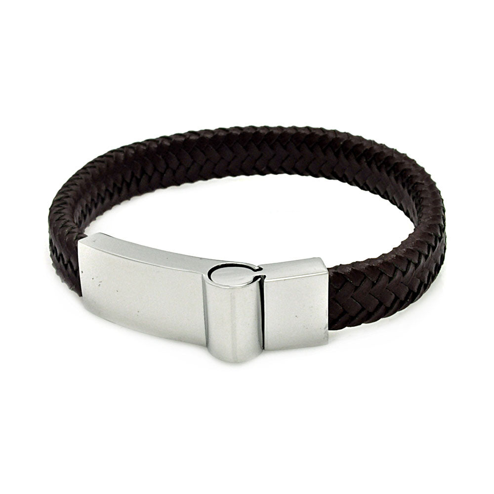 Stainless Steel Brown Leather Magnet Lock Bracelet