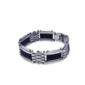 Stainless Steel Celtic Design Rubber Center Biker Bracelet
