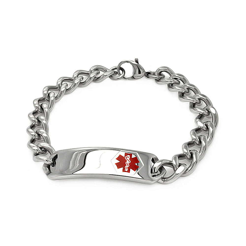 Stainless Steel Medical ID Bracelet- Mens