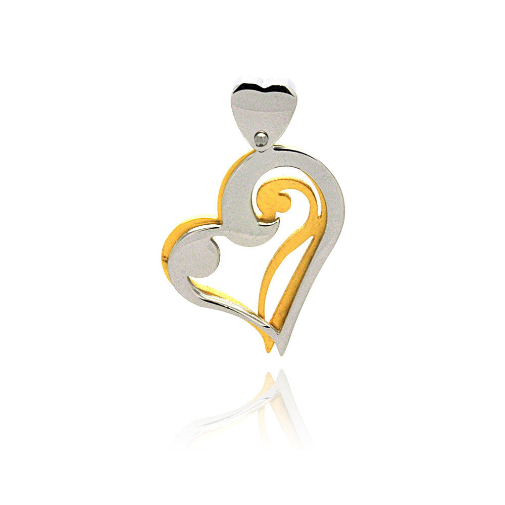 Stainless Steel Gold Plated Two Tone Heart Charm Pendant
