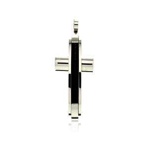 Stainless Steel Black Rhodium Plated Two Tone Cross Charm Pendant