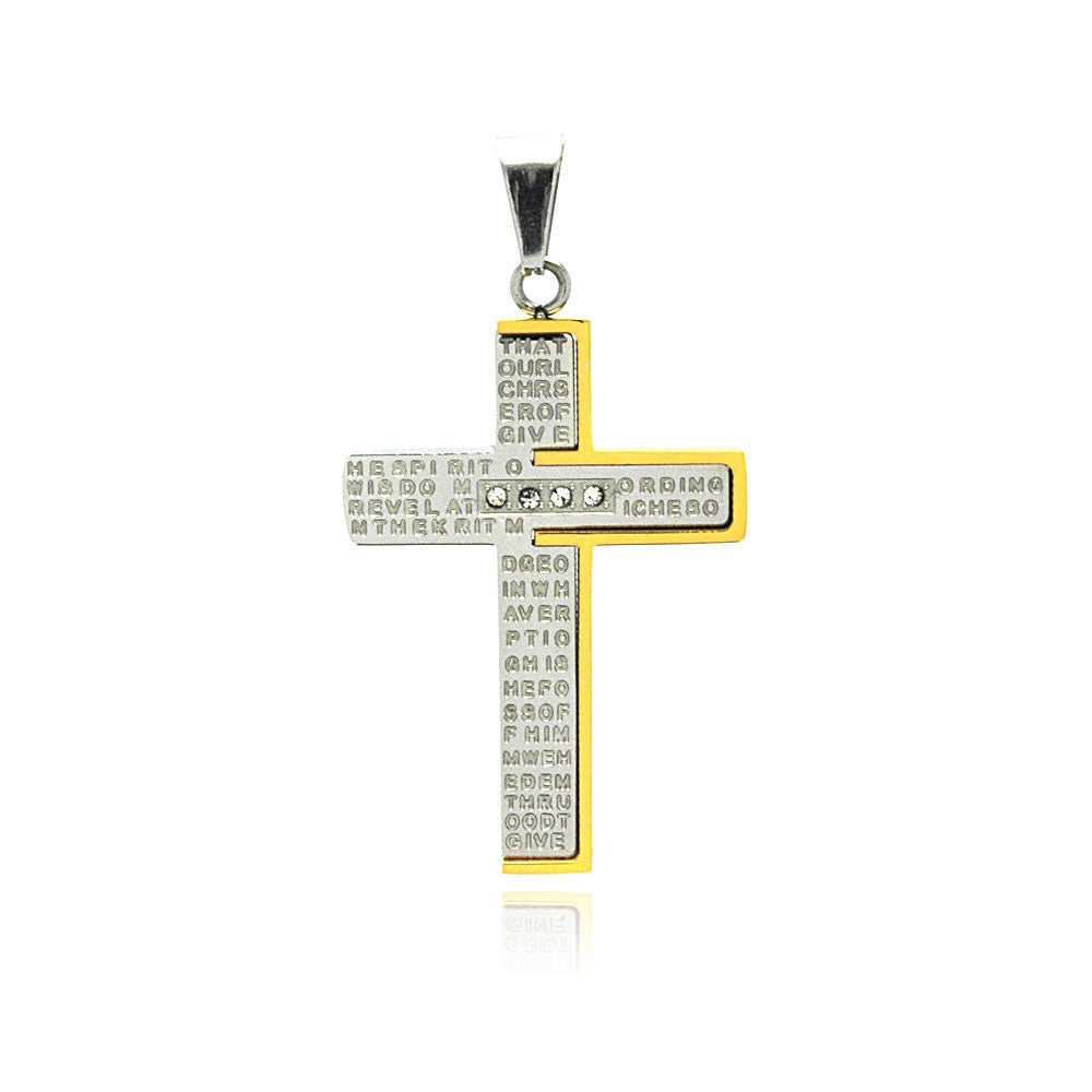Stainless Steel Gold Plated Two Tone Cross Prayer Clear Cubic Zirconia Charm Pendant
