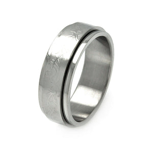 Men's Stainless Steel Abstract Design Spinner Ring
