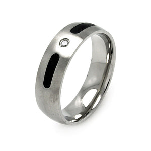 Men's Stainless Steel Black Enamel Clear Cubic Zirconia Ring