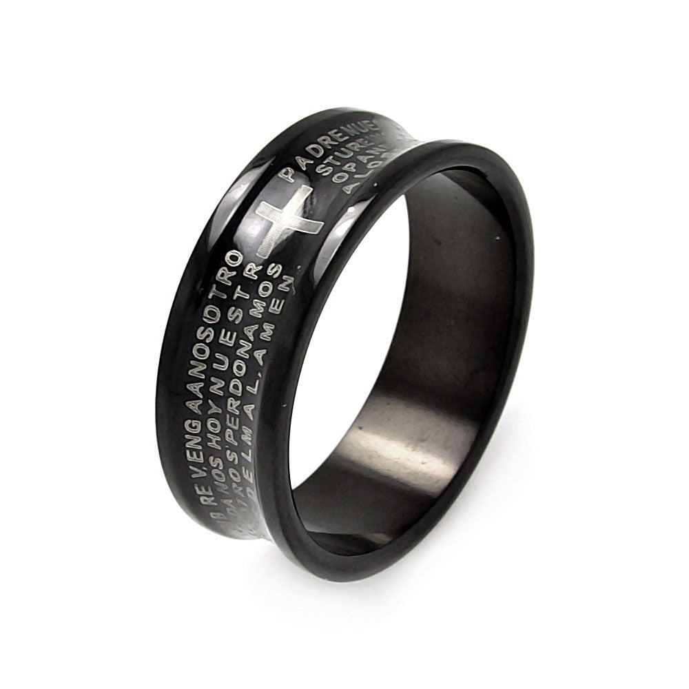 Men's Stainless Steel Black Rhodium Plated Border Padre Nuestro Ring