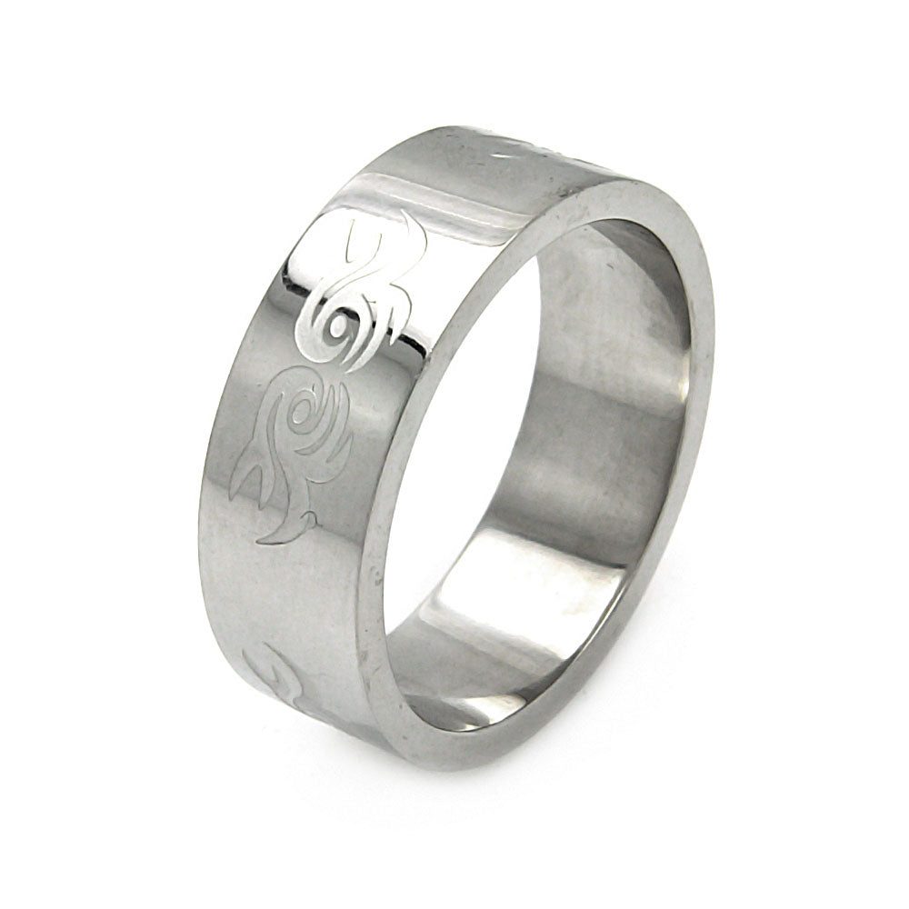 Men's Stainless Steel Abstract Swirl Design Ring
