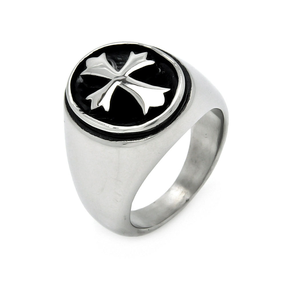 Men's Stainless Steel Oval Disc Cross Ring