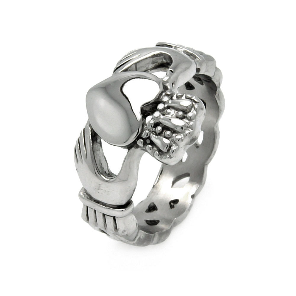 Men's Stainless Steel Hands Heart Claddagh Ring