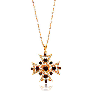 .925 Sterling Silver Rose Gold Plated Multiple Graduate Red Open Cross Cubic Zirconia