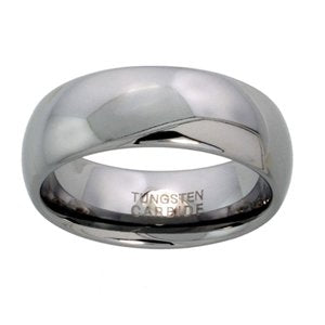 "Tungsten 5/16"" (8mm) High Polished Comfort Fit Domed Wedding Band"