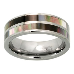 "Tungsten 8 mm (5/16"") Comfort Fit Striped Flat Band with 2 Rows Mother of Pearl Inlay."
