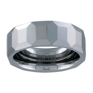 "Tungsten 5/16"" (8mm) Faceted Comfort Fit Domed Band"