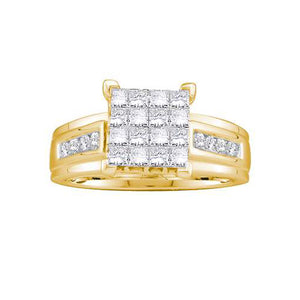 14k Yellow Gold 1.00Ctw Diamond Ladies Invisible Engagement Ring