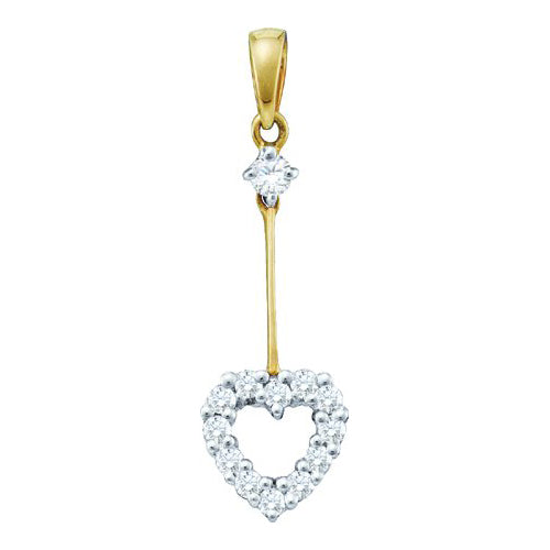 14k Yellow Gold 0.21Ctw Diamond  Heart Pendant