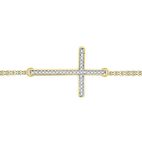 10K Yellow Gold 0.10 Ctw Diamond Fashion Cross Bracelet 7 Inch