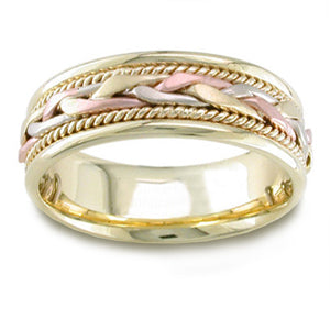 Women'S Handmade 14K Tri Colored Gold Braided Comfort-Fit Wedding Band Ring (7.00 Mm)