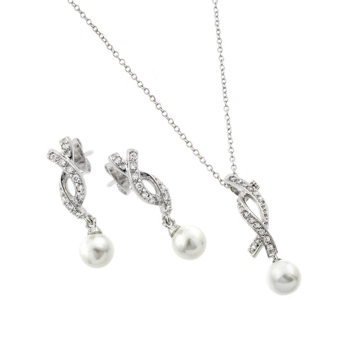 Nickel Free Rhodium Plated Sterling Silver Pearl Earrings Pendant Jewelry Set