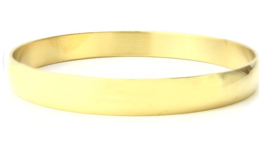 Gold Plated Stainless Steel Bangle Bracelet-10mm wide