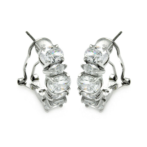 Rhodium Brass Cubic Zirconia CZ Earrings