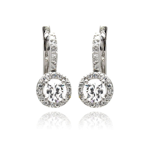 Rhodium Brass Cubic Zirconia CZ Dangle Earrings