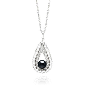 "Brass Black Cubic Zirconia Pearl Pendant Necklace 16"" - 18"" Adjustable"