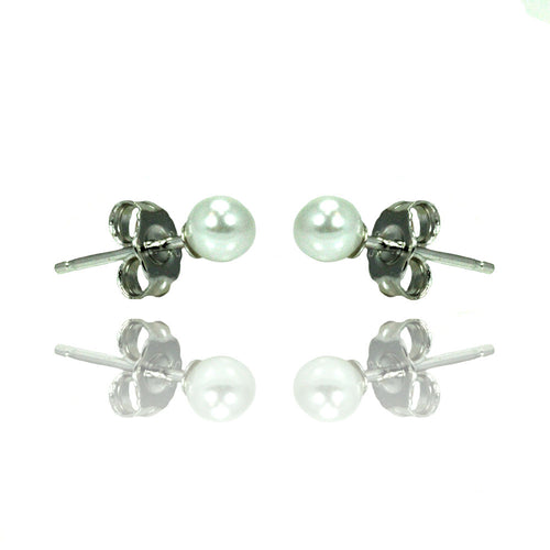 Sterling Silver .925 Pearl Stud Earrings 4mm
