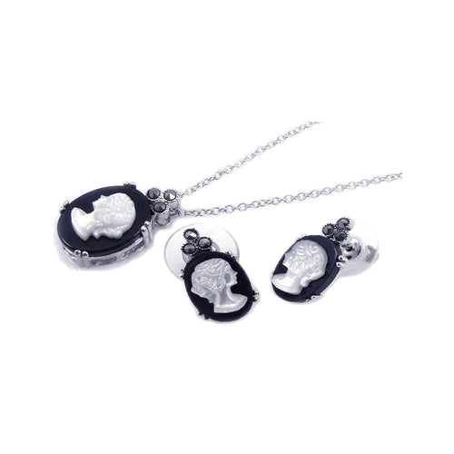 Pearl Black Onyx Cubic Zirconia CZ .925 Sterling Silver Necklace Pendant Earrings Jewelry Set