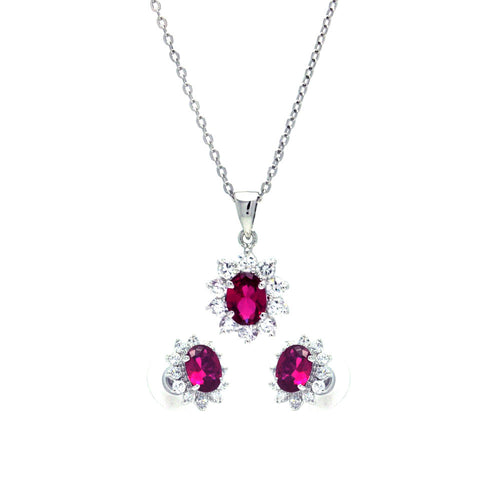 Red Cubic Zirconia CZ .925 Sterling Silver Necklace Pendant Earrings Jewelry Set