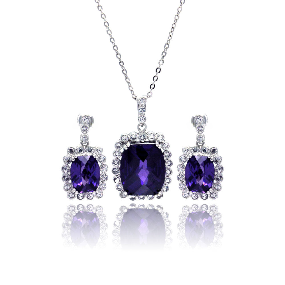 Sterling Silver Rhodium Plated Purple Amethyst & Clear Rectangular CZ