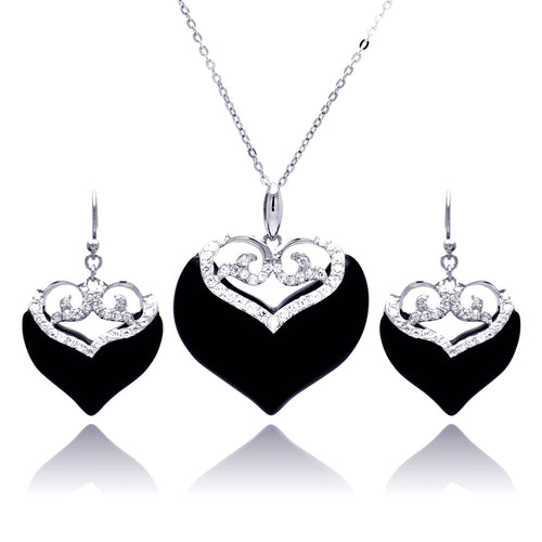 Onyx Cubic Zirconia CZ .925 Sterling Silver Heart Necklace Pendant Earrings Jewelry Set 567-bgs00219