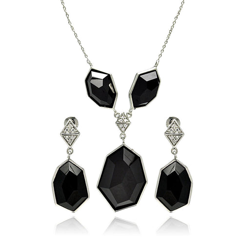 Cubic Zirconia CZ Ladies Brass Rhodium Necklaces  Earrings Jewelry Set
