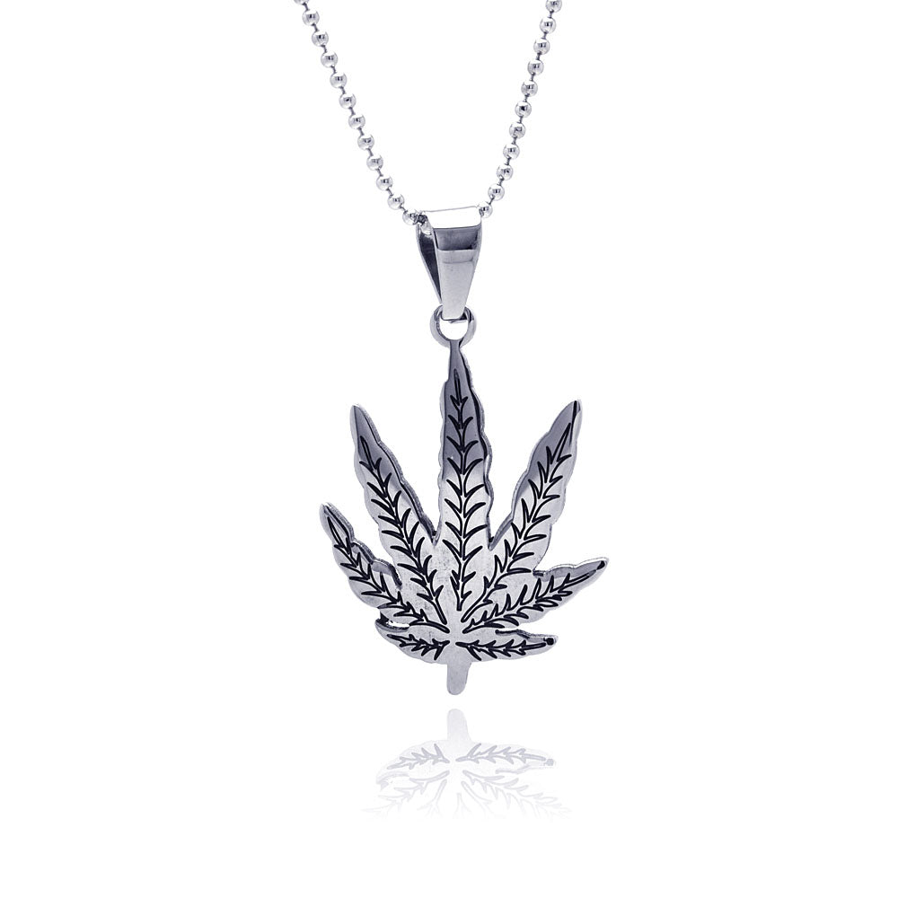 Stainless Steel Leaf Charm Pendant 35mm x 26mm