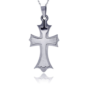 stainless steel double cross pendant (Chain Not Included)