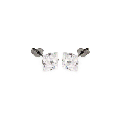 Stainless Steel Cubic Zirconia CZ Stud Earrings Ladies Jewelry 3mm