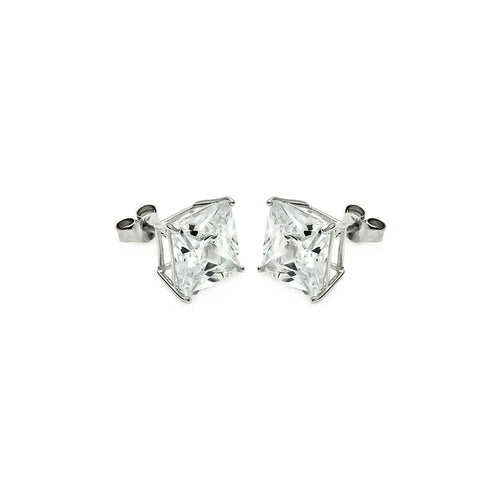 Sterling Silver .925 Cubic Zirconia CZ Stud Earrings 6mm