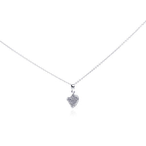 Sterling Silver Rhodium Plated Clear Diamond Tiny Heart Pendant Necklace 18 Inches