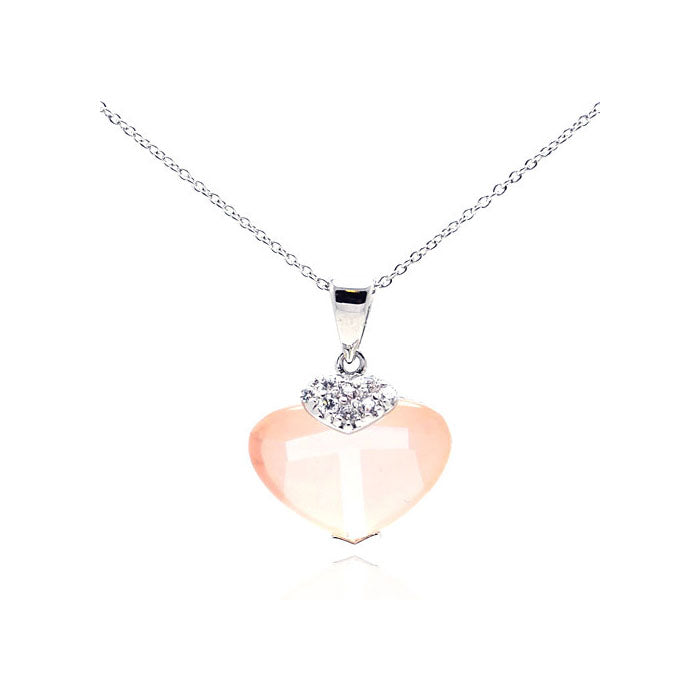 Sterling Silver Rhodium Plated Pink CZ Heart Pendant Necklace