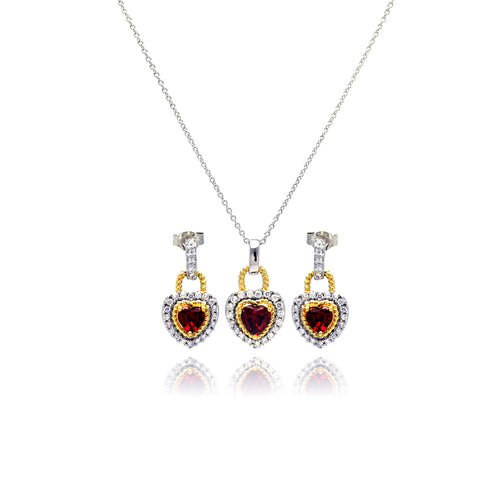 Red Ruby CZ .925 Sterling Silver Heart Necklace Pendant Earrings Jewelry Set 18 Inch