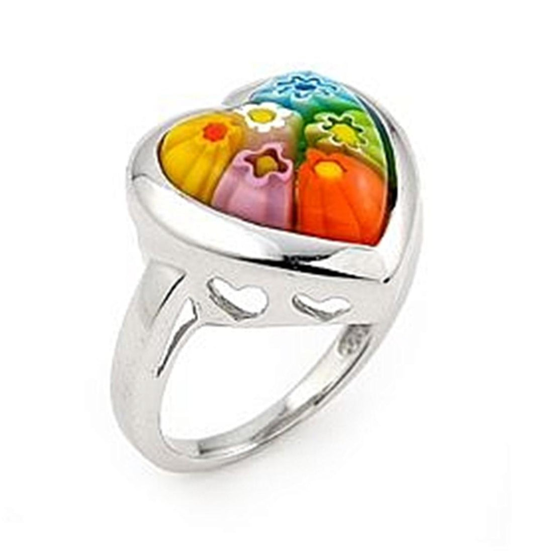 925 Sterling Silver Millefiori Multi Color Heart Ring